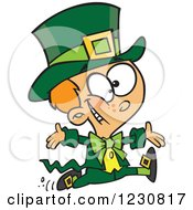 Clipart Of A Cartoon St Patricks Day Boy Running In A Leprechaun Costume Royalty Free Vector Illustration by Ron Leishman