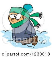 Clipart Of A Cartoon Caucasian Boy Trudging Through Snow Royalty Free Vector Illustration by Ron Leishman