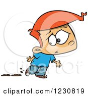 Clipart Of A Cartoon Red Haired Boy Worried About Muddy Shoes Royalty Free Vector Illustration by toonaday