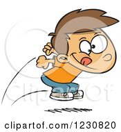Clipart Of A Cartoon Caucasian Boy Jumping Royalty Free Vector Illustration by toonaday