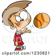 Cartoon Caucasian Boy Shooting A Basketball