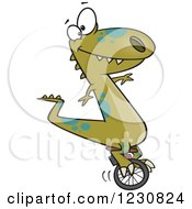 Clipart Of A Cartoon Green T Rex Dinosaur On A Unicycle Royalty Free Vector Illustration by toonaday