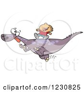Clipart Of A Cartoon Caucasian Boy Riding On A Pet T Rex Dinosaur Royalty Free Vector Illustration