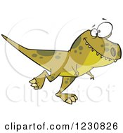 Clipart Of A Cartoon Green T Rex Dinosaur Walking Royalty Free Vector Illustration by toonaday