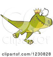 Clipart Of A Cartoon Green King T Rex Dinosaur Walking Royalty Free Vector Illustration by toonaday