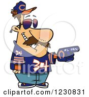 Clipart Of A Cartoon Chicago Bears Football Fan Man All Decked Out Royalty Free Vector Illustration