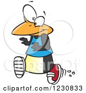 Clipart Of A Cartoon Penguin Running Royalty Free Vector Illustration