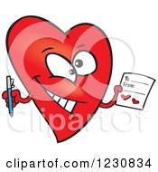 Clipart Of A Cartoon Red Heart Character Holding A Valentine Royalty Free Vector Illustration