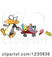 Clipart Of A Cartoon Penguin Pulling Numbers In A Wagon Royalty Free Vector Illustration