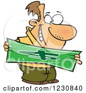 Clipart Of A Cartoon Happy Caucasian Man Stretching A Dollar Royalty Free Vector Illustration