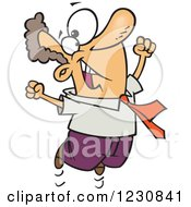Clipart Of A Cartoon Happy Caucasian Business Man Jumping Royalty Free Vector Illustration by Ron Leishman