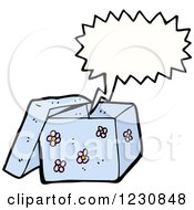 Clipart Of A Talking Blue Gift Box Royalty Free Vector Illustration