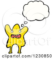 Clipart Of A Thinking Star Royalty Free Vector Illustration by lineartestpilot