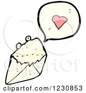 Clipart Of A Talking Love Letter Royalty Free Vector Illustration