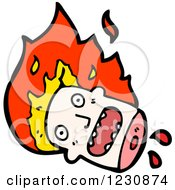 Clipart Of A Decapitated Burning Head Royalty Free Vector Illustration