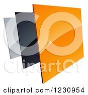 3d Shiny Orange Black And Silver Square Tiles Logo