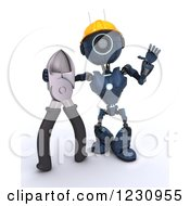 Clipart Of A 3d Blue Android Construction Robot With Wire Cutters 2 Royalty Free Illustration