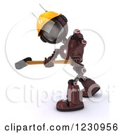 Poster, Art Print Of 3d Red Android Construction Robot With A Sledgehammer