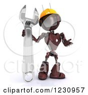 Clipart Of A 3d Red Android Construction Robot With A Spanner Wrench 3 Royalty Free Illustration
