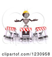 Clipart Of A 3d Red Android Construction Robot With Barriers Royalty Free Illustration