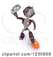 Clipart Of A 3d Red Android Robot Holding An American Football Trophy Royalty Free Illustration