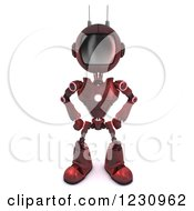 Clipart Of A 3d Red Android Robot With His Hands On His Hips Royalty Free Illustration