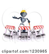 Clipart Of A 3d Blue Android Construction Robot With Barriers Royalty Free Illustration