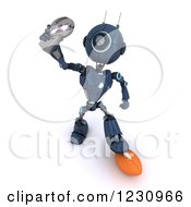 Clipart Of A 3d Blue Android Robot Holding An American Football Trophy Royalty Free Illustration