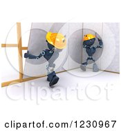 Clipart Of 3d Blue Android Construction Robots Hanging Drywall Royalty Free Illustration