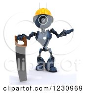 Poster, Art Print Of 3d Blue Android Construction Robot With A Saw