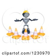 Clipart Of A 3d Blue Android Construction Robot With Cones Royalty Free Illustration by KJ Pargeter