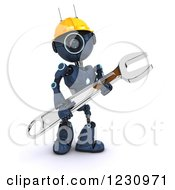 Poster, Art Print Of 3d Blue Android Construction Robot With A Spanner Wrench 4