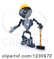 Poster, Art Print Of 3d Blue Android Construction Robot With A Sledgehammer