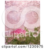 Clipart Of A Vintage Pink Aged Paper Background With Roses Royalty Free Illustration by KJ Pargeter