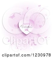Clipart Of A Happy Valentines Day Greeting Heart With Butterflies And Vines Royalty Free Vector Illustration
