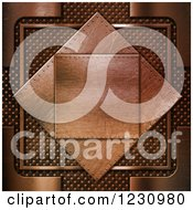 Clipart Of A 3d Brushed Brass Diamond Plaque Royalty Free Illustration