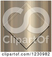 Clipart Of A 3d Brushed Gold Plaque Over Perforated Metal Royalty Free Illustration