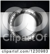 Clipart Of A 3d Silver Round Plaque On Black Royalty Free Illustration