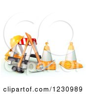 Clipart Of A 3d Barrier And Construction Tools Royalty Free Illustration