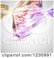 Clipart Of A Colorful Abstract Twisting Wave Over Gray Royalty Free Vector Illustration
