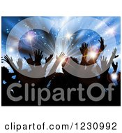 Clipart Of A Silhouetted Crowd Over A Blue Star Burst And Flares Royalty Free Vector Illustration by KJ Pargeter