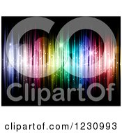 Clipart Of A Background Of Colorful Vertical Lights Stars And Flares Royalty Free Vector Illustration