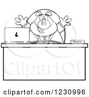 Clipart Of An Outlined Happy Boss Business Pig At An Office Desk Royalty Free Vector Illustration