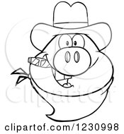 Clipart Of An Outlined Pig Head With A Cowboy Hat Cigar And Bandana Royalty Free Vector Illustration