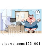 Clipart Of A Boss Business Pig With Open Arms By An Office Desk Royalty Free Vector Illustration