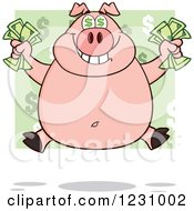 Clipart Of A Rich Pig With Dollar Eyes Holding Cash Money Royalty Free Vector Illustration