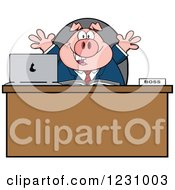 Clipart Of A Boss Business Pig With Open Arms At An Office Desk Royalty Free Vector Illustration