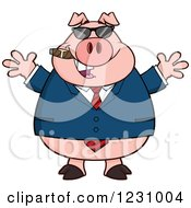 Clipart Of A Business Pig With Open Arms A Cigar And Sunglasses Royalty Free Vector Illustration