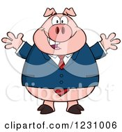 Clipart Of A Business Pig With Open Arms Royalty Free Vector Illustration