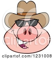 Pig Head With A Cowboy Hat And Sunglasses